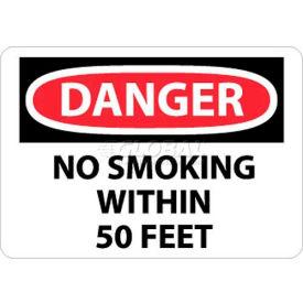 "NMC D124PB OSHA Sign, Danger No Smoking Within 50 Feet, 10"" X 14"", White/Red/Black"