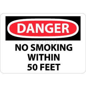 "NMC D124RB OSHA Sign, Danger No Smoking Within 50 Feet, 10"" X 14"", White/Red/Black"