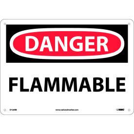 """NMC D126RB OSHA Sign, Danger Flammable, 10"""" X 14"""", White/Red/Black"""