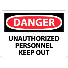 "NMC D143AB OSHA Sign, Danger Unauthorized Personnel Keep Out, 10"" X 14"", White/Red/Black"