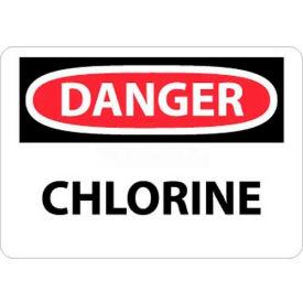 """NMC D15RB OSHA Sign, Danger Chlorine, 10"""" X 14"""", White/Red/Black"""