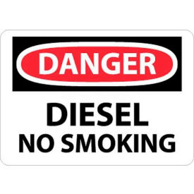 "NMC D18AB OSHA Sign, Danger Diesel No Smoking, 10"" X 14"", White/Red/Black"