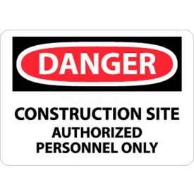 """NMC D247RB OSHA Sign, Danger Construction Site Authorized Personnel Only, 10"""" X 14"""", White/Red/Black"""