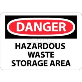 """NMC D285RB OSHA Sign, Danger Hazardous Waste Storage Area, 10"""" X 14"""", White/Red/Black"""