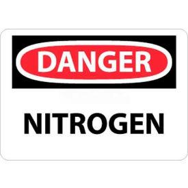 """NMC D342RB OSHA Sign, Danger Nitrogen, 10"""" X 14"""", White/Red/Black"""