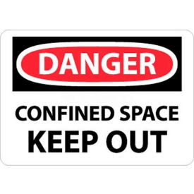 "NMC D372P OSHA Sign, Danger Confined Space Keep Out, 7"" X 10"", White/Red/Black"