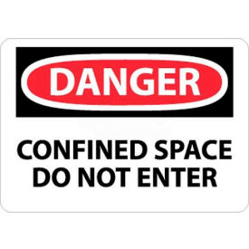 "NMC D383AB OSHA Sign, Danger Confined Space Do Not Enter, 10"" X 14"", White/Red/Black"