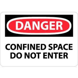 "NMC D383RB OSHA Sign, Danger Confined Space Do Not Enter, 10"" X 14"", White/Red/Black"
