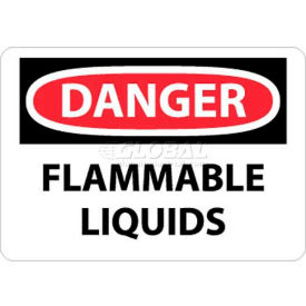 "NMC D38P OSHA Sign, Danger Flammable Liquids, 7"" X 10"", White/Red/Black"