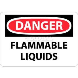 "NMC D38RB OSHA Sign, Danger Flammable Liquids, 10"" X 14"", White/Red/Black"