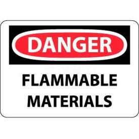 "NMC D39RB OSHA Sign, Danger Flammable Materials, 10"" X 14"", White/Red/Black"