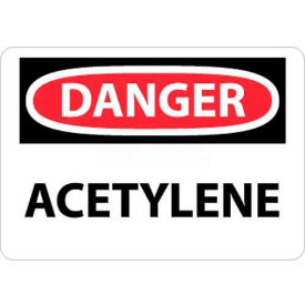 "NMC D3RB OSHA Sign, Danger Acetylene, 10"" X 14"", White/Red/Black"