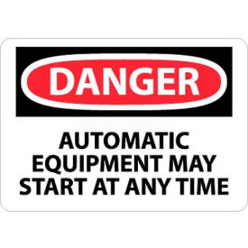 "NMC D401P OSHA Sign, Danger Automatic Equipment May Start At Anytime, 7"" X 10"", White/Red/Black"