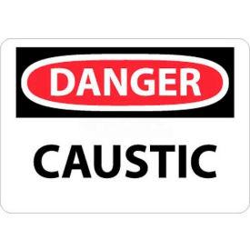 "NMC D403P OSHA Sign, Danger Caustic, 7"" X 10"", White/Red/Black"