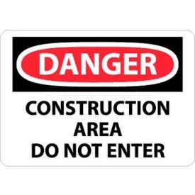 """NMC D490RB OSHA Sign, Danger Construction Area Do Not Enter, 10"""" X 14"""", White/Red/Black"""
