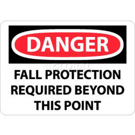 """NMC D528RB OSHA Sign, Danger Fall Protection Required Beyond This Point, 10"""" X 14"""", White/Red/Black"""