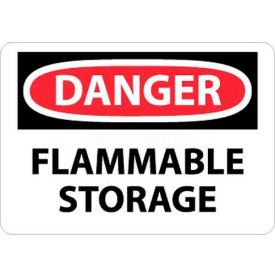 "NMC D534PB OSHA Sign, Danger Flammable Storage, 10"" X 14"", White/Red/Black"