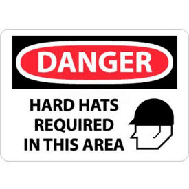 """NMC D545RB OSHA Sign, Danger Hard Hats Required In This Area, 10"""" X 14"""", White/Red/Black"""