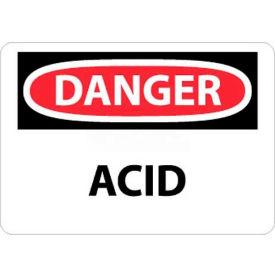 "NMC D5P OSHA Sign, Danger Acid, 7"" X 10"", White/Red/Black"