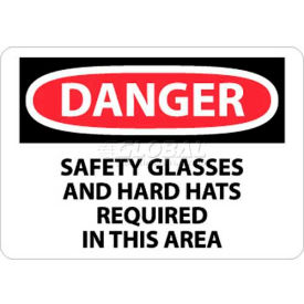 "NMC D610RB OSHA Sign, Danger Safety Glasses & Hard Hats Required In This Area, 10"" X 14"", Wht/Rd/Blk"