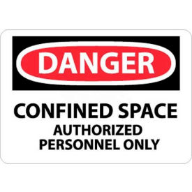 """NMC D643RB OSHA Sign, Danger Confined Space Authorized Personnel Only, 10"""" X 14"""", White/Red/Black"""