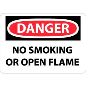 "NMC D648PB OSHA Sign, Danger No Smoking Or Open Flame, 10"" X 14"", White/Red/Black"