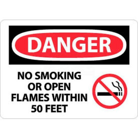 "NMC D673PB OSHA Sign, Danger No Smoking Or Open Flames Within 50 Feet, 10"" X 14"", White/Red/Black"