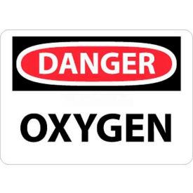 "NMC D98AB OSHA Sign, Danger Oxygen, 10"" X 14"", White/Red/Black"