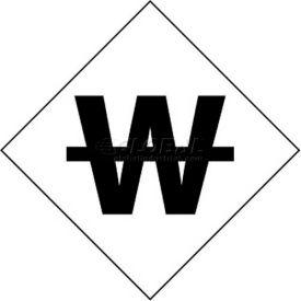 """NMC DCL106 NFPA Label Symbol, Use No Water, 7-1/2"""" X 7-1/2"""", White/Black, 5/Pk"""