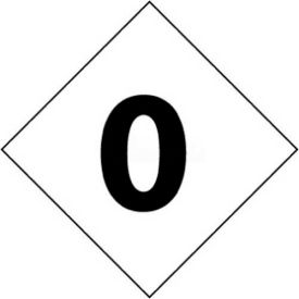 "NMC DCN20 NFPA Label Number, 0, 2-1/2"" X 2-1/2"", White/Black, 5/Pk"