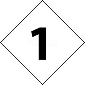 "NMC DCN21 NFPA Label Number, 1, 2-1/2"" X 2-1/2"", White/Black, 5/Pk"