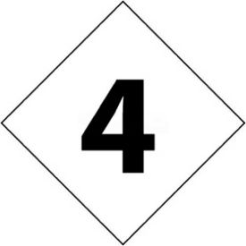 "NMC DCN24 NFPA Label Number, 4, 2-1/2"" X 2-1/2"", White/Black, 5/Pk"