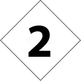 "NMC DCN62 NFPA Label Number, 2, 7-1/2"" X 7-1/2"", White/Black, 5/Pk"