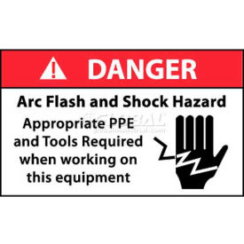 "NMC DGA61AP Arc Flash Labels, Danger Arc Flash & Shock Hazard Appropriate PPE, 3"" X 5"", Wht/Rd/Blk"