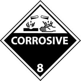 "NMC DL12AL DOT Shipping Labels, Corrosive 8, 4"" X 4"", White/Black, 500 Per Roll"