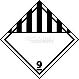 "NMC DL50AL DOT Shipping Labels, Class 9, 4"" X 4"", White/Black, 500 Per Roll"