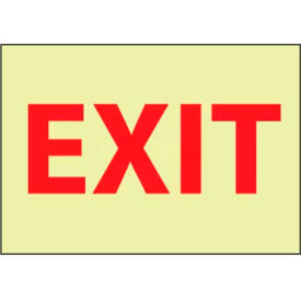 "NMC GL12PB Fire Sign, Exit, 10"" X 14"", White/Red"