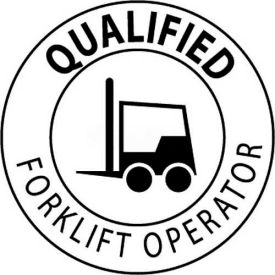 "NMC HH17 Hard Hat Emblem, Qualified Forklift Operator, 2"" Dia., White/Black"