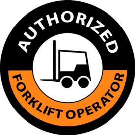 "NMC HH63 Hardhat Emblem, Authorized Forklift Operator, 2"" Dia., Orange/Black by"