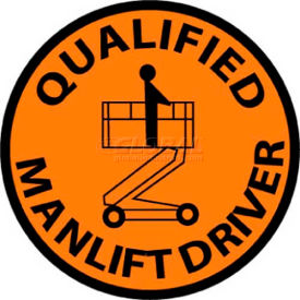 "NMC HH83 Hard Hat Emblem, Qualified Man Lift Driver, 2"" Dia., Orange/Black"