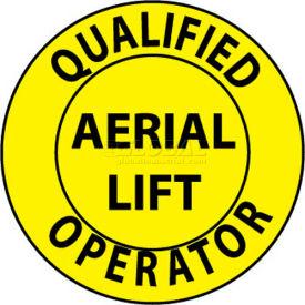 "NMC HH84 Hard Hat Emblem, Qualified Aerial Lift Operator, 2"" Dia., Yellow/Black"