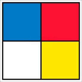 "NMC HMS15P Hazardous Materials Systems Label, 15-1/2"" X 15-1/2"", Red/Yellow/White/Blue, 5/Pk"