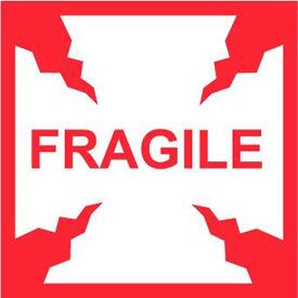 "NMC IHL2AL International Shipping Labels, Fragile, 4"" X 4"", White/Red, 500 Per Roll"