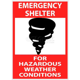 "NMC M121RB Sign, Emergency Shelter For Hazardous Weather Conditions, 14"" X 10"", White/Red/Black by"