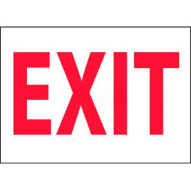 """NMC M24PB Fire Sign, Exit, 10"""" X 14"""", White/Red"""