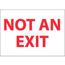 """NMC M27P Fire Sign, Not An Exit, 7"""" X 10"""", Pressure Sensitive Vinyl, White/Red"""