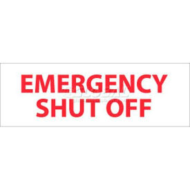 "NMC M347R Fire Sign, Emergency Shut Off, 4"" X 12"", White/Red"