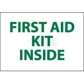 """NMC M65P Sign, First Aid Kit Inside, 7"""" X 10"""", White/Green"""
