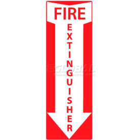 """NMC M715AP Fire Sign, Fire Extinguisher, 4"""" X 12"""", White/Red"""