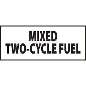 "NMC M726LP Flammable/Combustible Sign, Mixed Two-Cycle Fuel, 2"" X 5"", White/Black"